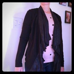 Cabi black soft knit blazer/jacket drape waterfall
